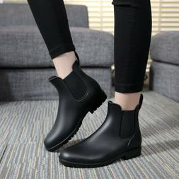 Unisex Short Rain Boots Waterproof Slip On Ankel Chelsea Boo