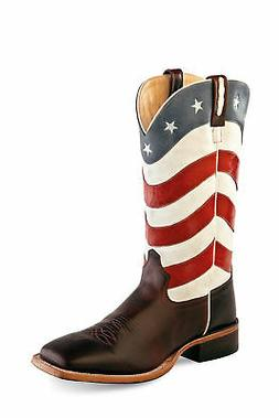 Old West USA Flag Mens Leather 13in Western Cowboy Boots