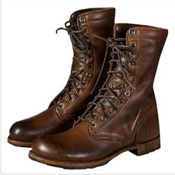 Vintage Mens Motorcycle Punk Boots Military Leather Shoes Fa