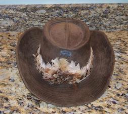 Vintage Boot Hill Western Cowboy Hat w/Feather Headband Men'