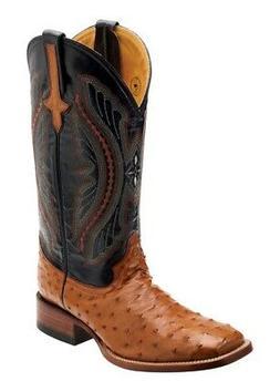 western boots mens full quill ostrich cognac