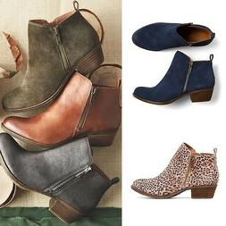Women Vintage Motorcycle Riding Faux Leather Suede Booties L