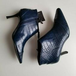 Zara Womens High Heel Ankle Boots Size 7.5 Blue Crocodile An